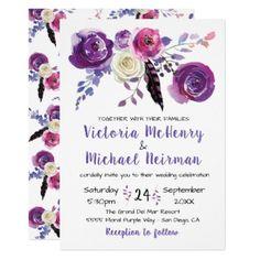 #Purple watercolor Floral Boho wedding invitations - #flower #invitation #floral #invitations