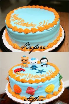Making a purchased cake into an awesome Octonauts cake! Fourth Birthday, 4th Birthday Parties, Baby Birthday, Birthday Ideas, Octonauts Party, Octanauts Cake, Party Themes, Birthdays, Awesome