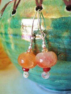 Amber Twirls Earrings  Boho CHIC w Crackle Agates by WillieandLu, $29.00