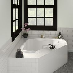 Corner Jacuzzi Tub, Corner Soaking Tub, Big Bathtub, Drop In Bathtub, Bathtub Decor, Corner Tub Shower Combo, Bathtub Sizes, Tub Remodel, Master Bath Remodel
