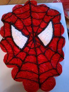 Spiderman Cupcake Cake - Contact Hyderabad Cupcakes to order! Spiderman Cupcakes, Spiderman Torte, Spiderman Birthday Cake, Minion Cupcakes, Oreo Cupcakes, Giant Cupcakes, Pull Apart Cupcake Cake, Pull Apart Cake, Cupcake Cakes