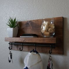 Modern Rustic Entryway Coat Rack Shelf with 4 Dark by KeoDecor