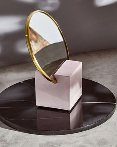 "Cube base with 6"" round mirror, brass edges and rubber backing. The perfect addition to your desk or vanity. Packed and shipped in a protective box ready for gifting. Footer Design, 2020 Design, One Design, Mirror 3, Round Mirrors, Milk Shop, Sustainable Gifts, Recycled Rubber, Large Rugs"