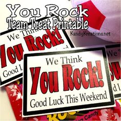 Treat your team to a sweet treat with this Good Luck Pop Rock printable. Using some candy and a little bit of fun you can rock your team really easy and wish them Good Luck for their weekend games. Football Player Gifts, Softball Gifts, Cheerleading Gifts, Cheer Gifts, Basketball Gifts, Cheer Mom, Volleyball Crafts, Team Cheer, Cheer Coaches