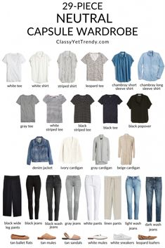 "Neutral Capsule Wardrobe - Classy Yet Trendy - - See how I ""shopped my closet"" to create an all-neutral capsule wardrobe, which includes tops, bottom, layers and shoes based on the Simplified Style capsule wardrobe. Capsule Outfits, Fashion Capsule, Capsule Wardrobe Summer, Capsule Wardrobe Neutral, Capsule Wardrobe How To Build A, Capsule Wardrobe Essentials, Travel Outfits, Wardrobe Staples, Minimal Wardrobe"