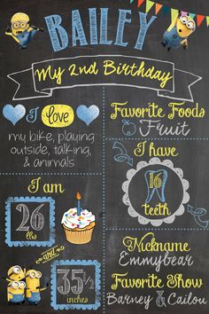 Despicable Me Minion Minions Birthday Party Chalkboard Sign