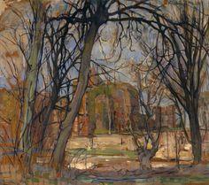 herzogtum-sachsen-weissenfels:  Piet Mondrian (Dutch, 1872-1944), Spring Sun: Castle Ruin: Brederode, c. 1909-10. Oil on masonite,62 x 72 cm.