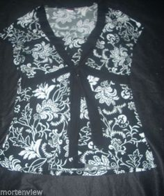 WOMENS-AGENDA-BLACK-WHITE-FLORAL-TWINSET-TIE-FRONT-SUMMER-TOP-SIZE-XL