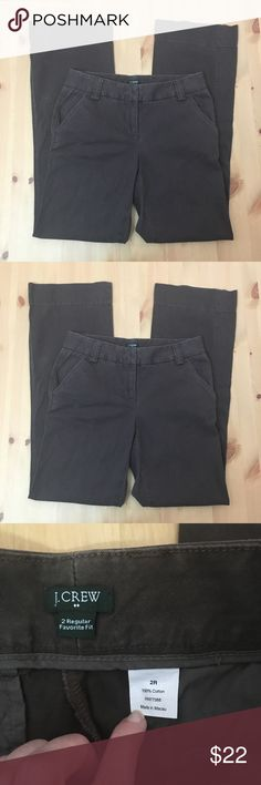 "J. Crew Flare ""Favorite Fit"" Brown Pants In excellent condition! ""Favorite Fit"" Flare fit. Size 2 Regular. 100% cotton. 32"" inseam, 9.5"" rise. I'm a speedy shipper and we have a smoke free home! Measurements upon request. I'm always open to reasonable offers. J. Crew Pants Boot Cut & Flare"