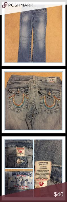 True Religion jeans! SALE TODAY ONLY💞 Nice pair of True Religion jeans. Faded look with colorful stitching on the back pockets and on the left side pocket their is the colorful stitching. RN # 112790, CA# 30427. Boot style. Inseam is 34! True Religion Jeans Boot Cut