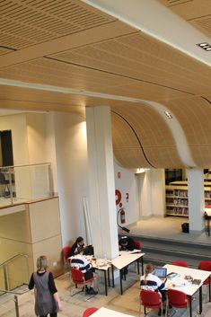 Decor Systems collaborated closely with the Architects to ensure that together we could create a ceiling that is both unique and enhances the libraries acoustics. Timber Wood, Wood Paneling, Libraries, Architects, Ceiling, Create, Unique, Projects, Decor