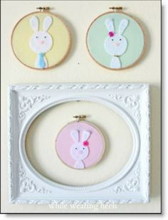 Felt bunny family in pastel hoops