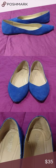 Lane bryant 100% leather flats, blue, 9 wide 💙 Worn for three hours with peds (socks) on--- barely walked in, these are like new They are genuine leather Size 9 wide from the Lane bryant leather collection Lane Bryant Shoes