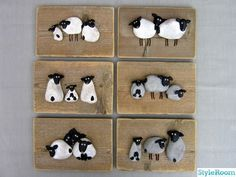 Pebble sheep on driftwood...this is a very cute idea