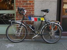 I love the prayer flags on my co-worker's bike.  To me, it illustrates how global--yet how personal--bicycle travel is!