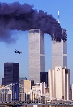 As the North Tower of the World Trade Center burns after being struck by hijacked American Airlines Flight World Trade Center Nyc, World Trade Center Attack, Trade Centre, 11 September 2001, Remembering September 11th, We Will Never Forget, Emerald City, Historical Photos, Change The World