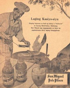 DEPENDING on the news outlet, the ad copy was sometimes in the vernacular. Vintage Labels, Vintage Ads, Vintage Posters, Beer Advertisement, Old Advertisements, San Miguel Beer, Philippine Art, Philippines Culture, Beer Art