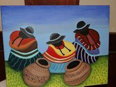 Mexican Artwork, Mexican Paintings, Mexican Folk Art, Cactus Painting, Artist Painting, Peruvian Art, Latino Art, Acrilic Paintings, Native American Paintings