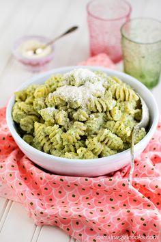 Broccoli Pesto Pasta made with Greek Yogurt.