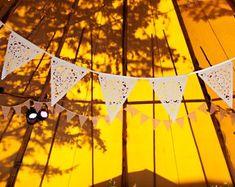 Boho wedding bunting, perfect teepee or marquee camping decoration Lace Bunting, Wedding Bunting, Tipi Wedding, Camp Wedding, Marquee Wedding, Backyard Party Decorations, Wedding Decorations, Alternative Wedding Venue, Glamping Weddings