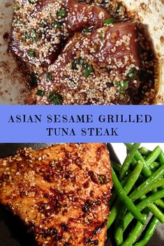 Asian Sesame Grilled Tuna Steak RecipeYou can find Tuna recipes and more on our website. Fish Dishes, Seafood Dishes, Seafood Recipes, Cooking Recipes, Dinner Recipes, Drink Recipes, Fresh Tuna Recipes, Asian Recipes, Healthy Recipes