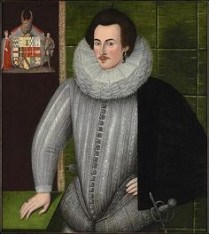A portrait of Charles Blount, 4rth Baron Mountjoy, circa 1594. The Baron is sporting a rather exaggerated version of the fashionable peascod doublet of the 16th century.