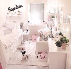 Love the white theme and mostly love the way the owner organised it when it's a slightly smaller size!!! I would be happy with a room like this!!!