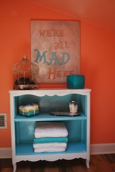The colors of this are perfect for us. This is more of an inspiration thing. But I could dig up an old side table to paint and do this with if we have room...