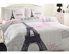 100% Cotton 4 pcs Paris Eiffel Tower QUEEN Double Bedding Duvet Cover Set #Handmade