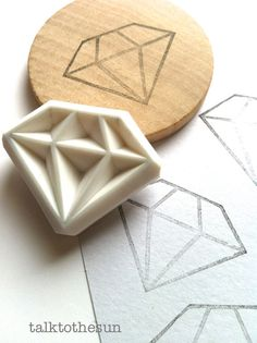 diamond rubber stamp. gemstone hand carved rubber stamp. wedding scrapbooking. birthday gift wrapping. christmas crafts. stationery. large