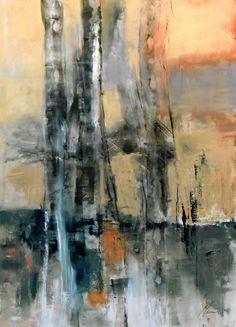 """ Birches #5"" Oil on Paper 20 x 28"""