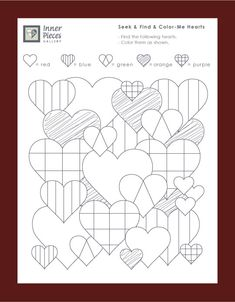 Valentine's Day Seek and Find and Color-Me Hearts.  Great for visual figure ground and visual discrimination skill building for kids. Free printable.