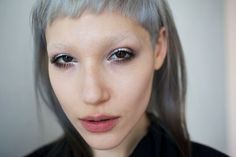 Silver micro fringe, very short baby bangs. Cut from the entire front section, tapered from brow length at temple to very short in the center. Short Fringe Bangs, Hair Balm, Baby Bangs, New Haircuts, About Hair, Face Shapes, Healthy Hair, My Hair, Brows