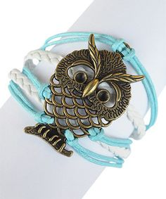 Another great find on #zulily! White & Blue Owl Braided Leather Bracelet by Valshi #zulilyfinds
