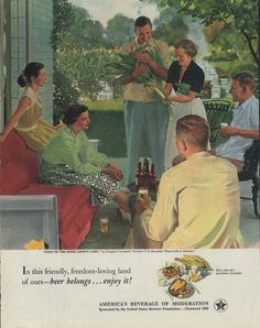First of the Home Grown Corn by Douglass Crockwell - Beer Belongs ad 1952 Col
