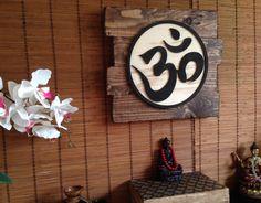Wood Wall Art, Namaste Symbol Art, Aum - Om Symbol Art, Rustic Home Decor, Spiritual Art, Carved Wood Art, Yoga Art, Wall Decor