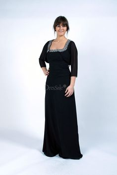 Beaded Black Chiffon Dress for Mother of the Bride