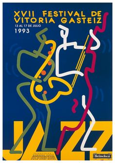 Julio Arregui, Festival de Jazz de Vitoria-Gasteiz, 1993 Jazz Festival, Festival Posters, Concert Posters, Graphic Design Posters, Graphic Design Illustration, Music Covers, Album Covers, Jazz Radio, Jazz Poster
