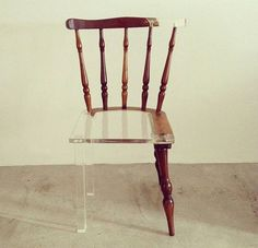 Instead of trying to restore the old look, Tatiane Freitas repairs broken furniture with translucent acrylic. The ongoing series are titled My Old New Chair and the result creates a captivating optical illusion.