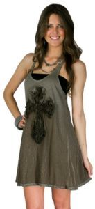 LOVE THIS!!!! Velvet Stone Ladies Distressed Khaki/Green with Cross Tank Dress