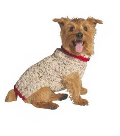 Chilly Dog Oatmeal with Red Trim Dog Sweater, Medium