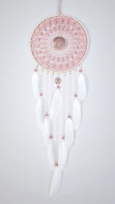 Large Pink Ash Dream Catcher Crochet Doily by DreamcatchersUA