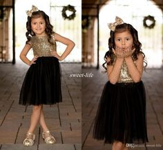 Black Gold Sequins Tulle Flower Girls Dresses For Weddings Children Party Dress Birthday Gowns Sparkly Girls Pageant Dress Knee Length 2017 Flower Girl Dresses Cheap First Communion Dresses Online with $68.0/Piece on Sweet-life's Store | DHgate.com