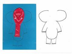 Uitnodiging kinderfeestje zelf maken DIY. Print het voorbeeld van de olifant op gekleurd karton. Oogjes maak je door met perforator gaatjes te maken in een wit stickerblad. Ballon opplakken met lijm. Free template.