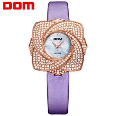 US $79.80 - 2016 DOM Women Sapphire Crystal Wristwatch Luxury Fashion Diamond Flower Dial Women Watches High Quality 200m Waterproof Watch