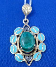 Pendant Malachite Diamond Sterling Silver 925 14K Yellow Gold Necklace Green #Unknown #Pendant
