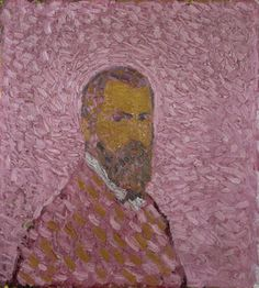 Cuno Amiet, Selbstbildnis in Rosa / Self-portrait in Rose (1907) Oil on canvas, 60 × 55 cm.