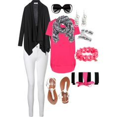 pink and black, created by tarleemac on Polyvore
