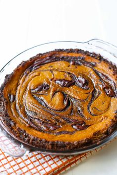 A twist on traditional pumpkin pie – swirled with decadent Nutella and baked in a gingersnap crust.