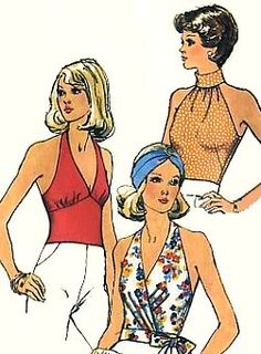 Halter tops, 1975,I would wear these with my Dittos...